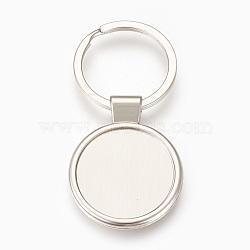 trousseau de paramètres de cabochon en alliage de zinc, avec anneau en fer, plat rond, platine, plateau: 29 mm; 71 mm; 43.5x34x4 mm; 1 pc / box(KEYC-E028-01P)