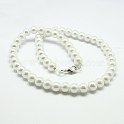 мода стекла жемчужные ожерелья из бисера, с медными застежками когтя омара, белый, 17.3(X-NJEW-D061-8mm-3)