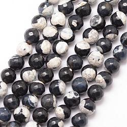 Natural Fire Agate Bead Strands, Round, Grade A, Faceted, Dyed & Heated, Black, 8mm, Hole: 1mm; about 47pcs/strand, 15inches
