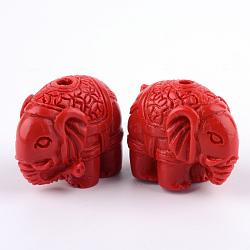 Cinnabar Beads, Elephant, FireBrick, 18x22.5x12.5mm, Hole: 2mm(CARL-Q004-81)