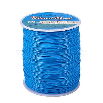 BENECREAT Waxed Polyester Cord, Light Sky Blue, 1mm; about 200yards/roll(600 feet/roll)(YC-BC0001-01E)