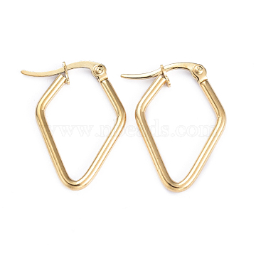 201 Stainless Steel Hoop Earrings, with 304 Stainless Steel Pins, Rhombus, Golden, 12 Gauge, 25x17x2mm, Pin: 1x0.7mm(EJEW-I245-30F)