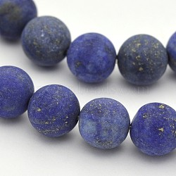 Natural Lapis Lazuli Round Beads Strands, Frosted, Dyed, 12mm, Hole: 1mm; about 32pcs/strand, 15.3inches