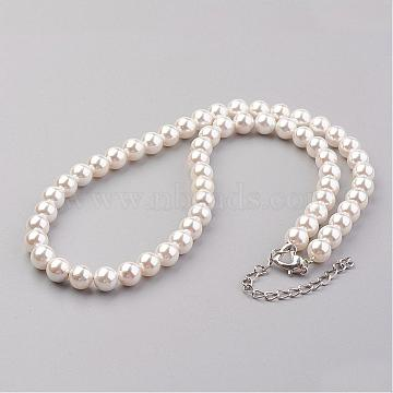 Shell Pearl Beaded Necklaces, with Alloy Lobster Claw Clasps and Iron Extender Chain, Platinum, Creamy White, 19.3 inches(49.2cm); 8mm(NJEW-JN01913-01)