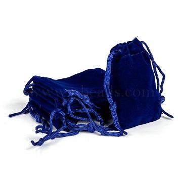 Rectangle Velvet Pouches, Gift Bags, Dark Blue, 7x5cm(TP-R022-5x7-03)