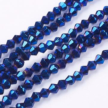 4mm RoyalBlue Bicone Electroplate Glass Beads