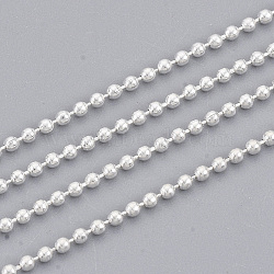 chaînes à billes en laiton soudé, avec bobine, plaqué argent, 1.2 mm(X-CHC-S008-003G-S)
