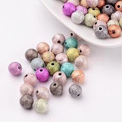 Perles acryliques mates mixtes de 8 mm, jet rond peint de perles avec trou de 1mm(X-PB24P9284)