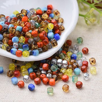Transparent & Opaque Czech Glass Beads, Square, Mixed Color, 3.5x3.5x3.5mm, Hole: 0.8mm; about 720pcs/bag(GLAA-O018-04)