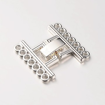 7 Strands Alloy and Brass Fold Over Clasps, Platinum, 24x22.5x5mm, Hole: 2mm(X-PALLOY-N0112-03P)