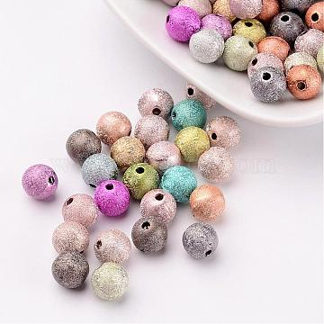 8mm Mixed Matte Acrylic Beads, Spray Painted Round 1mm Hole Beads(X-PB24P9284)
