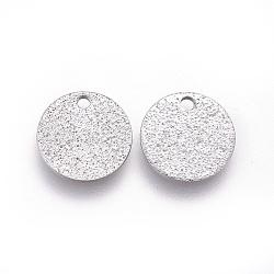 304 charmes d'acier inoxydable, texturé, rond plat avec bosses, couleur inox, 10x1 mm, trou: 1.2 mm(STAS-E455-02P-10mm)