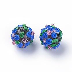 Fait main perles au chalumeau cahoteuses, rond, bleu royal, 14~15mm, Trou: 1.5~1.6mm(LAMP-E021-07B)