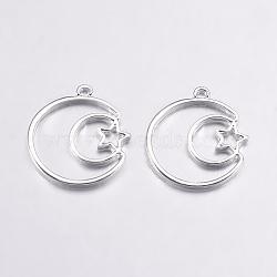 pendentifs lunette ouvert en alliage, pour diy uv résine, une résine époxy, Bijoux à fleurs pressées, lune avec étoile, argent, 25x23.5x2 mm, trou: 2 mm(PALLOY-L203-08S)