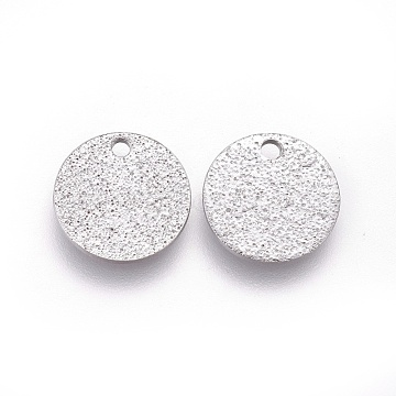 304 Stainless Steel Charms, Textured, Flat Round with Bumpy, Stainless Steel Color, 10x1mm, Hole: 1.2mm(STAS-E455-02P-10mm)