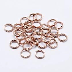 925 anneaux à double boucle en argent sterling, anneaux ronds, or rose, 8x1.5 mm; diamètre intérieur: 7 mm(STER-F036-01RG-0.6x8mm)