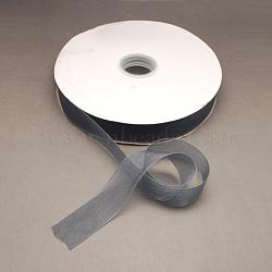 "Ruban d'organza de nylon, grises , 3/4"" (19~20 mm), 200yards / roll (182.88m / roll)(ORIB-R018-20mm-059)"