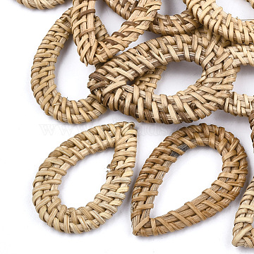 Handmade Reed Cane/Rattan Woven Linking Rings, For Making Straw Earrings and Necklaces,  Drop, BurlyWood, 47~52x30~34x4~5mm, Inner Measure: 14~16x28~33mm(X-WOVE-T005-16)