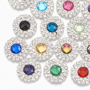 Acrylic Rhinestone Cabochons, with Brass Rhinestone Findings, Faceted, Flat Round, Silver Color Plated, Mixed Color, 19x4mm(RB-T008-09S)