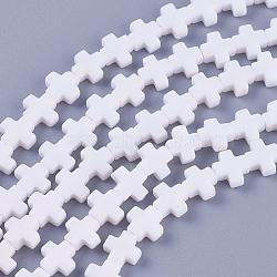 """Chapelets de perles en corail synthétique, teint, croix, blanc, 7.5~8.5x8~9x3~3.5mm, trou: 1mm; environ 40 pcs/chapelet, 12.5""""~12.7"""" (31.8~32.3 cm)(CORA-L044-A01)"""