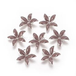 Pendentifs en laiton émail peg bails, pour la moitié de perles percées, sans nickel, fleur, Platine plaqué réel, rosybrown, 23x24x6mm, trou: 2 mm; broches: 1 mm(KK-F803-26P-02-NF)