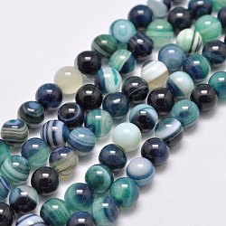 Natural Striped Agate/Banded Agate Bead Strands, Dyed & Heated, Round, Grade A, CadetBlue, 6mm, Hole: 1mm; about 63pcs/strand, 14.7