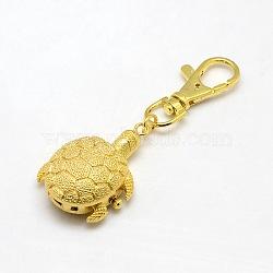 accessoires de porte-clés personnalisés alliage 3 d montre tortue pour porte-clés, avec mousquetons en alliage, or, 85x30 mm(WACH-M041-01G)