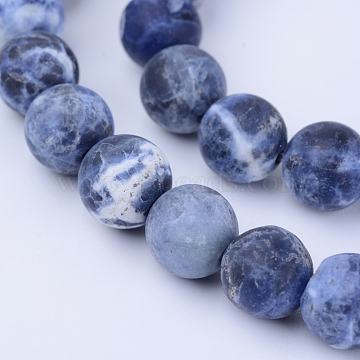 Natural Sodalite Beads Strands, Frosted, Round, 6~6.5mm, Hole: 1mm, about 63pcs/strand, 15.5 inches(X-G-Q462-6mm-07)