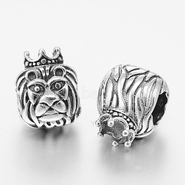 Lion 925 Silver European Beads, Thai Sterling Silver Large Hole Beads, Antique Silver, 11x9x9mm, Hole: 4.5mm(STER-F011-005)