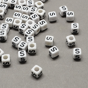 Large Hole Acrylic Letter European Beads, White & Black, Cube with Letter.S, 10x10x10mm, Hole: 4mm(X-SACR-Q103-10mm-01S)
