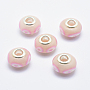 Misty Rose Rondelle Polymer Clay European Beads(CLAY-K002-A38)