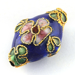 Handmade Cloisonne Beads, Rhombus, Sapphire Blue, 21mm long, 13mm wide, 8mm thick, hole: 2mm(X-CLB082Y-6)