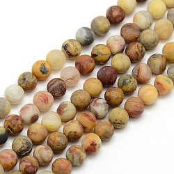 Frosted Natural Crazy Agate Round Bead Strands, Crazy Agate, 6mm, Hole: 1mm; about 63~65pcs/strand, 14.9~15.6inches