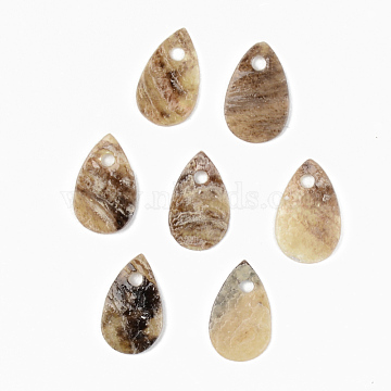 Natural Akoya Shell Charms, Mother of Pearl Shell Charms, Teardrop, Camel, 11x7x1mm, Hole: 1.4mm(SHEL-R048-025)