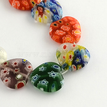 Heart Handmade Millefiori Glass Beads Strands, Mixed Color, 17x17x4mm, Hole: 1.5mm; about 22pcs/strand, 13.7 inches(X-LK-R004-28)