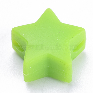 Food Grade Environmental Silicone Beads, Chewing Beads For Teethers, DIY Nursing Necklaces Making, Star, YellowGreen, 14x13.5x8mm, Hole: 2mm(X-SIL-T041-03)