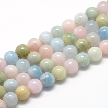 Natural Morganite Beads Strands, Grade A, Round, 10mm, Hole: 1mm; about 40pcs/strand, 15.7inches(G-R446-10mm-07)