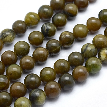 Natural Chinese Jade Beads Strands, Round, 8.5mm, Hole: 1mm; about 46~47pcs/strand, 14.9~15.1inches(38~38.5cm)(X-G-F557-8mm)