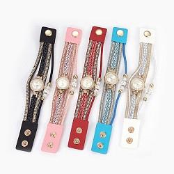 """Montre en alliage montres bracelet tête, avec PU cuir, perles strass et acrylique, plat rond, couleur mixte, 8-1/4""""~8-5/8"""" (21~22 cm), 26mm(WACH-P017-A)"""