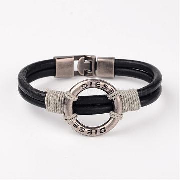 Black Imitation Leather Bracelets