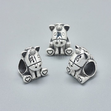 925 Sterling Silver European Beads, Large Hole Beads, Carved with 925, Unicorn, Antique Silver, 11.5x9.5x9mm, Hole: 4.5mm(STER-L060-26AS)