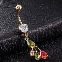 Piercing Jewelry, Brass Cubic Zirconia Navel Ring, Belly Rings, with Use Stainless Steel Findings, Cadmium Free & Lead Free, Real 18K Gold Plated, Colorful, 47x10mm, Pin: 1.5mm(AJEW-EE0003-40B)