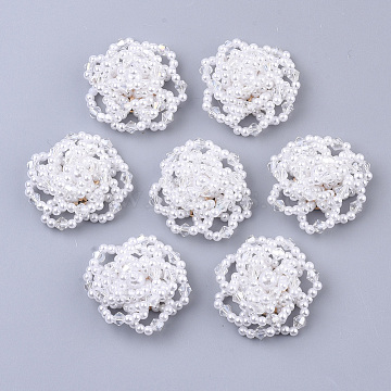 ABS Plastic Imitation Pearl Cabochons, Cluster Beads, with Clear Glass Seed Beads and Light Gold Plated Iron Sieve Findings, Flower, White, 33~35x14~15mm(X-FIND-S319-26)