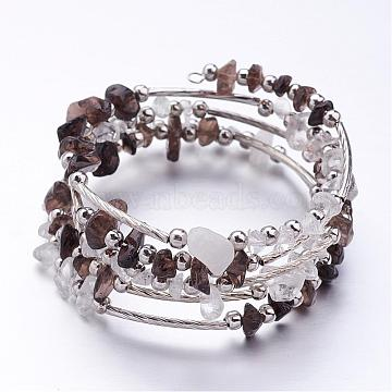 Five Loops Wrap Smoky Quartz Beads Bracelets, with Crystal Chips Beads and Iron Spacer Beads, Coffee, 2 inches(52mm)(BJEW-JB02589-04)
