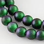 """Frosted Baking Painted Glass Bead Strands, Round, MidnightBlue, 8mm, Hole: 1mm; about 104pcs/strand, 31.5"""""""