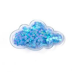 Pinces à cheveux en alligator en plastique, avec paillette et socle en fer platiné, nuage, bleu foncé, 38~38.5x64~65x13~14mm(PHAR-L005-I05)