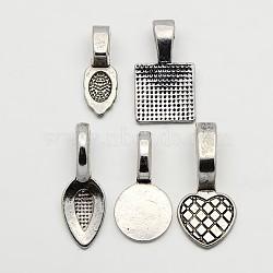 5pcs / set de style tibétain mélangé bélières à coller plates, alliage bélières plates, feuille, bêche, cœur, plat rond, carrée, argent antique, 15~21x6~10x1.5~2mm, Trou: 4~8x3~4mm(TIBE-X0012-AS)