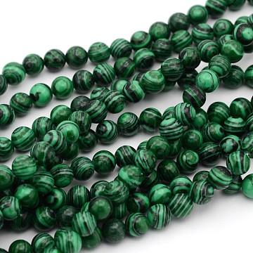 Gemstone Strands, Imitation Malachite, Round, Dyed, 4mm, Hole: 1mm; about 94pcs/strand, 15.5inches(39.3cm)(X-G-G448-6)