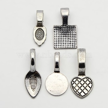 5PCS/Set Mixed Tibetan Style Glue-on Flat Bails, Alloy Flat Bails, Leaf, Spade, Heart, Flat Round, Square, Antique Silver, 15~21x6~10x1.5~2mm, Hole: 4~8x3~4mm(TIBE-X0012-AS)