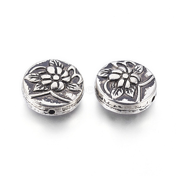 CCB Plastic Beads, Flat Round with Flower, Antique Silver, 20.5x8.5mm, Hole: 1.8mm(CCB-G010-04AS)